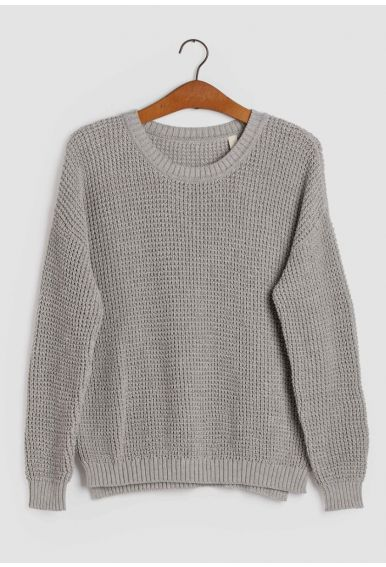 Strik blusen – den i lys grå