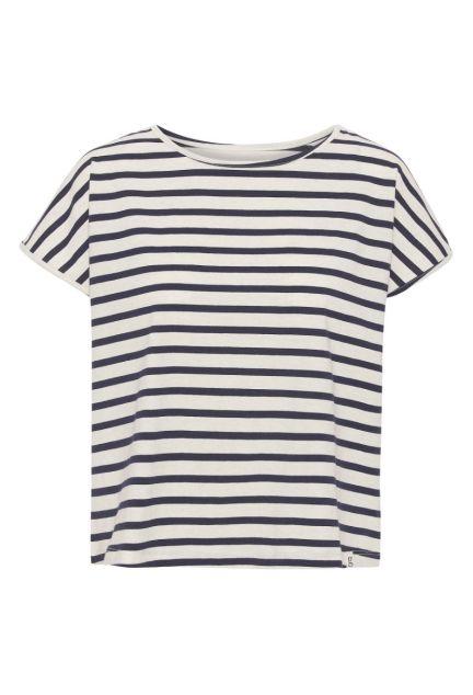 T-shirten – den korte med midnatsblå striber