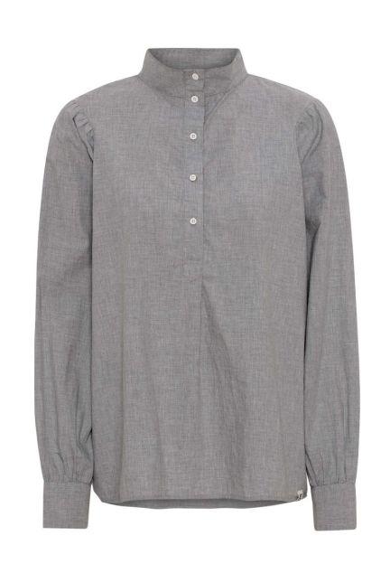 Skjorten - den med knapper og høj krave i grå melange