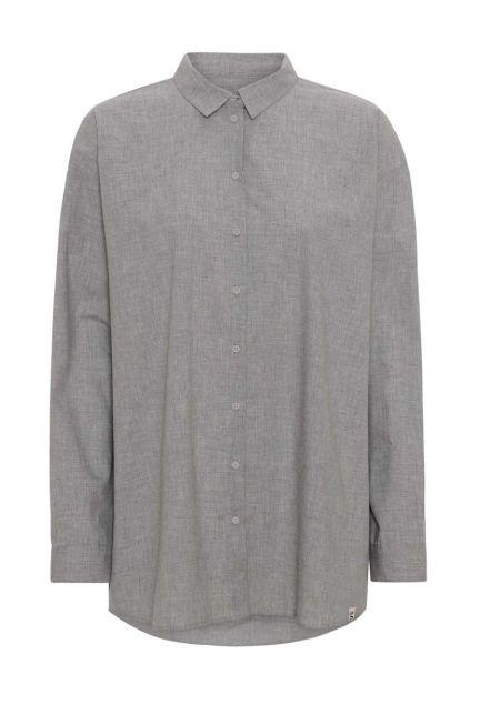 Skjorten - den oversize med krave i grå melange