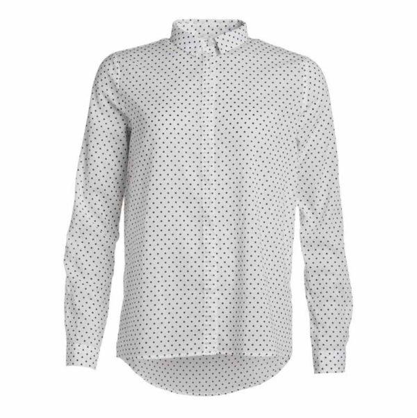 Den med prikkerne fra GROBUND er en smuk og grafisk skjorte i økologisk bomuld. Skjorten er bæredygtig og certificeret med GOTS